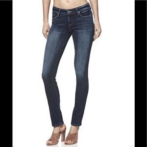 PAIGE low rise peg-skinny, dark wash jeans, 27